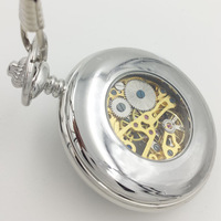 Brand New Unique Design Phoenix pattern Silver Tone Mechanical  Wind UP Pocket Watch With Chain H101