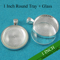1 Inch Round Pendant Trays, 25mm Silver Round Cabochon Setting, Blank Pendant Setting + Clear Glass Cabochon Cover