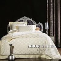 LUXURY SILK CC BEIGE DESIGNER  BEDDING SET DUVERT COVER SHEET/ WEDDING BED SHEET COVERLET BEDSPREAD FREE SHIP