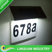 Stainless Steel Solar house led number plate light /garden decoration/solar doorplate lamp