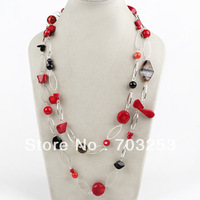 Fashion Style Red Coral and Multi stone Link Long Red Necklace for Woman