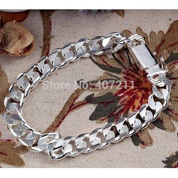 10mm*21cm  Men 925 Sterling Silver Texture Bracelet  Fashion Jewelry Fashion Jewelry Free shipping