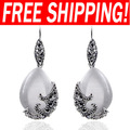 Luxury Vintage silver Cat Eyes teardrop Drop Earrings with rhinestones new arrival 2013 quality jewellery ers-g03