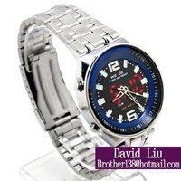 Freeshipping HOT Fine steel strap digital pointer calendar male watch W001