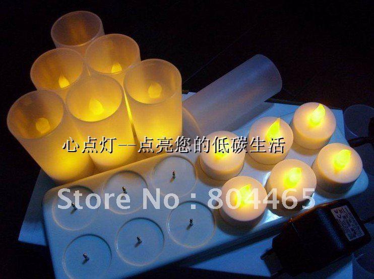 LED rechargeable candle light,12pcs tea light,led night light(China (Mainland))