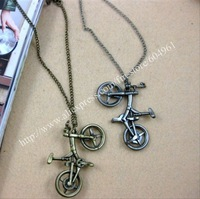 Fashion Cool alloy bike bicycle necklace chain glod silver pendant free shipping