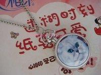Free shipping 10pcs/lot Cute White Cat Quartz Pocket Watch Pendant Necklace Watch