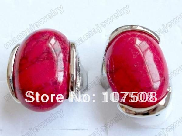Lot50pcs Red Turquoise Discus Oversize stone silver ring stone rings [ST28*50](China (Mainland))