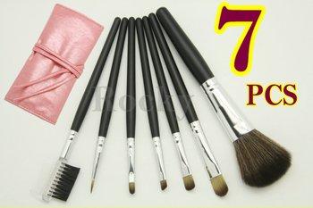 Wholesale - 5 Sets Lot 7 Pcs PRO Makeup Brushs SET GOAT HAIR PINK Bag Leather Pouch NEW + FREE SHIP