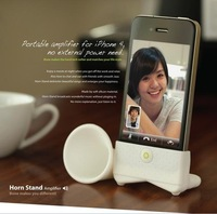 NEW---10pcs Freeshipping Horn Stand Amplifier for iPhone,no need power loudspeaker,100%bio-degradable silicone