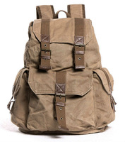 Free shipping! Thick canvas student backpack backpack school leisure fashion sports backpack drawstring backpack 235-1S khaki