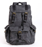 FREE SHIPPING! Thick canvas backpack men's rucksack school bag camping bag leisure drawstring travel backpack 2352-L gray