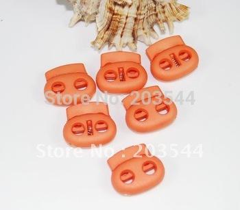 100pcs Orange colored 2 hole Bean Cord Locks Stopper  toggles hole 5mm +Wholesale+Free shipping #FLS003-C(Orange)