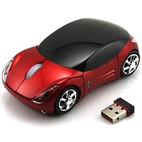 Car USB 2.4G 1600dpi 3D Optical Wireless Mouse -Red