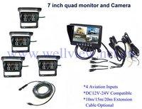 Built-in split Screen 7inch Car monitor 4*Rear CCD cameras Quad Reverse Camera System for Van Horsebox