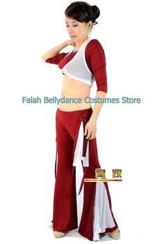 New! Free design belly dancing practice set/Tieback top+ trumpet pant/lace Half sleeve top/ Belly dance supplier /Falah