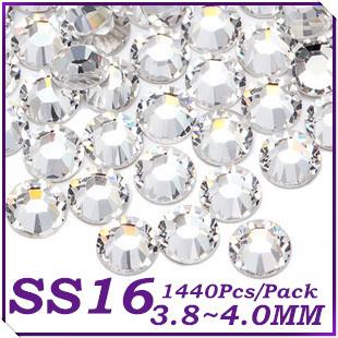 1440Pcs/Pcs SS16 4mm Crystal Clear Color Non Hotfix Flatback Rhinestones