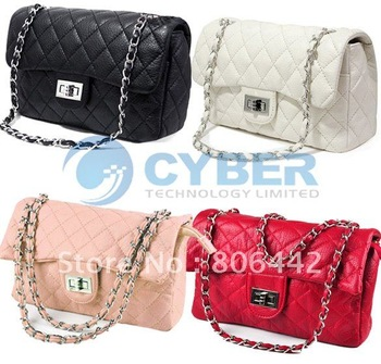Hot Selling Ladies' Classic Clutch Shoulder Bag Handbag Quilting Chain Cross free shipping 3105