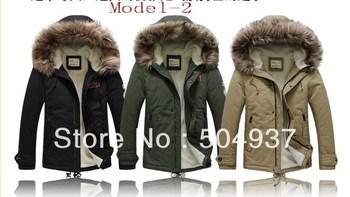 Free shipping High Quality Men's Thicken Winter Hooded Warm Coats/Outwear men's coat fur collar medium-long wadded zipper jacket