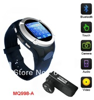 Free shipping 1.5 inch TFT touch screen ,Quad-bands, Support Bluetooth,MP3/MP4/ FM ,WAP,GPRS,watch phone,mobile phone.MQ998A