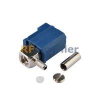 Fakra C crimp Jack connector right angle blue for GPS telematics or navigation