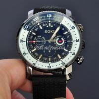 New SOKI Date Black Day Automatic Mens Mechanical Self Winding Rubber Wrist Watch W074