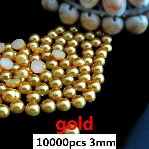 Бесплатная Доставка Круглый Flatback Жемчуг 10000 шт. 3 мм золото идеально подходит для chothes платья обувь и Украшения Искусства Ногтя