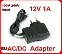 Free shipping Input voltage 100-240V, output voltage 12V 1A AC/DC Plug EU Power Adapter, EU adapter