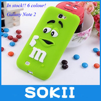 Galaxy Note2 candy cilicone cover,3D Silicon M&M Fragrance Chocolate Beans Case For Samsung Galaxy Note2 N7100+Screen protector