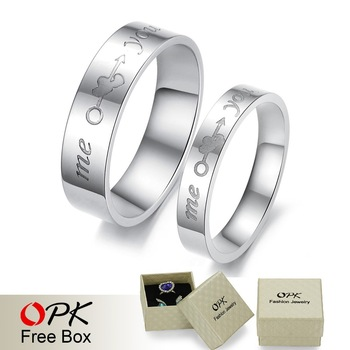 "OPK COUPLES JEWELRY titanium engagement ring couple finger rings carved ""me you "" An arrow to wear heart mark free shipping 278"