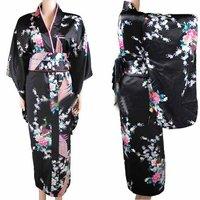 New Arrival Black Vintage Japanese Women's Silk Satin Kimono Yukata Evening Dress Peafowl One Size Free Shipping H0030