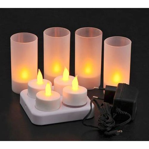 4pcs yellow LED candle lights rechargeable flameless tea lights with frosted holder(China (Mainland))