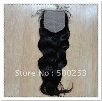 "silk top closure (4""x4"") natural color natural wave Brazilian virgin hair"