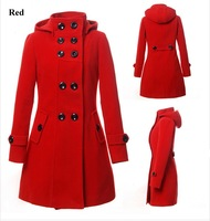 Wool Coats Lady's Trench Coat Winter Women Woolen Hooded Coat Long Jacket Outerwear 2014 New Spring Outdoor Fashion Clothes