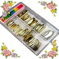 100pcs Metallic / Mirror Golden Nail Tips full cover french nail False Nail Tips with box for nail art uv gel polish tool NA488