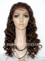 Body Wave 4# brown 8-24inch 100% Indian Remy Hair front Lace Wig