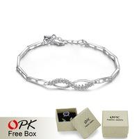 OKP JEWELRY 925 silver bracelet heart bracelet crystal inlay women elegant bracelet retail wholesale price anti-allergy 425