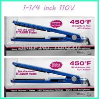 "Free shipping Hair Straightener Prancha / Nano Titanium 1 1/4"" Hair Iron 110V (2pcs/lot)"