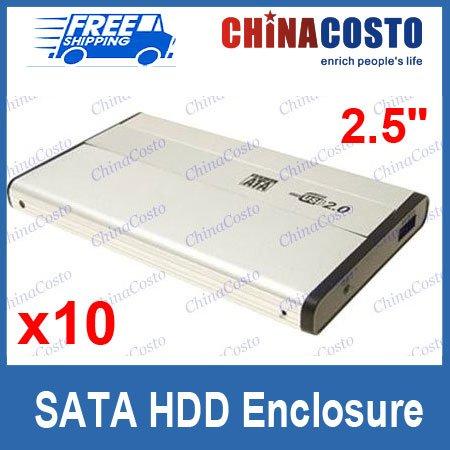 10pcs/lot Free Sample 2.5'' SATA To USB Hard Drive Case HD Enclosure Box
