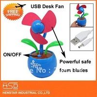 Flower Shaped Portable PC  USB mini Desk Fan for Laptop  PC Safe foam blades strong windforce slient motor USB/battery powered