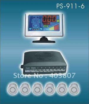 12V ultrasonic waterproof reverse sensor color LCD voice alart display high quality car parking sensor  PS-911-B(6 sensors)