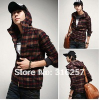 {clearance sale} Men's long sleeve   shirt with  hoody  Free shipping   CS-91