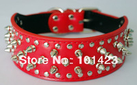 Free shipping New 2inch width Genuine leather spikes dog pet collar for pitbull