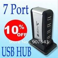Free shipping 7 Port USB HUB USB 2.0 Hub Card Reader with power adapter