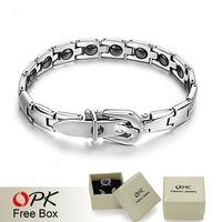 OPK JEWELRY BRACELET  Healing Stainless Steel Magnetic Bracelet Mosaic of 16 natural bio-magnetic Care bracelet GS977