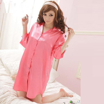 New Women's Pajamas.multicolors Pyjamas shirts.silk NightGown.sleepshirts ps1092