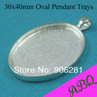 30x40MM Shiny Silver Blank Pendant Tray, Oval Pendant Blanks, Pendant Bezel Settings to Fit 30x40mm Cabochons