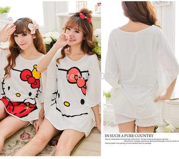 2015 10/lot cartoon hello kitty cotton pajamas set 16pattern,free size nighegowns women clothing sleep lounge/pajamas dress set