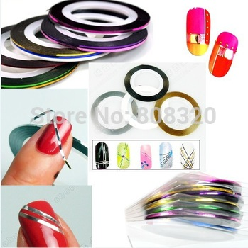 Freeshipping!!! 100PCS 10 Rolls Nail Art Tips Striping Tape Decoration