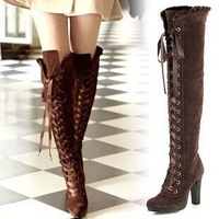 Fashion Lace-up platform over the knee tall boots lady's high boots free shipping
